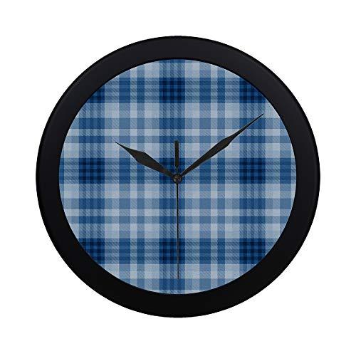 EIJODNL Moderno Simple Azul Tartán Textil Reloj de Pared Interior Sin tictac Silencio Cuarzo Movimiento de Barrido silencioso Pared Clcok para Oficina, baño, Sala de Estar Decorativo 9.65 Pulgadas
