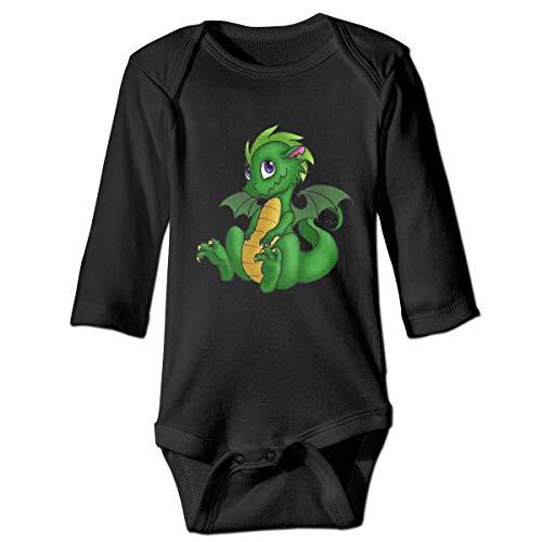 Green Baby Dragon Neugeborenen GILR Jungen Kid Baby Strampler Langarm Kleinkind T-Shirts(2 t,schwarz) -