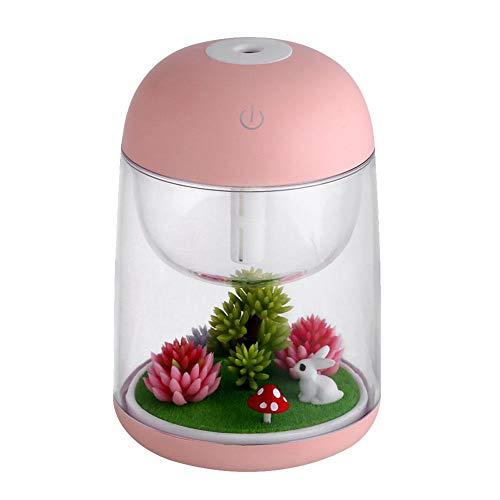 LLAS 180ml Mini Ultraschall Cool Mist Luftbefeuchter Ätherisches Öl Diffusor Room Decor mit Nachtlicht Aroma Diffuser für Office Home Spa Yoga,Pink