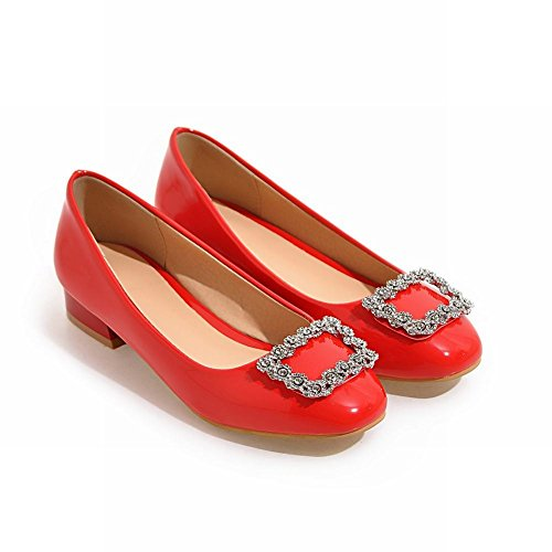 MissSaSa Donna Sottile col Tacco Basso Pumps Elegante Rosso