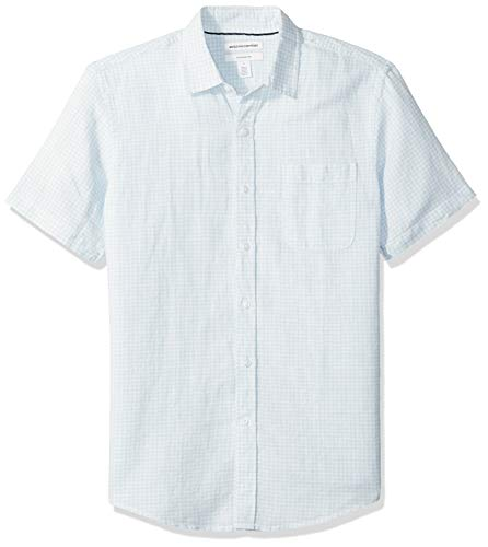 Amazon Essentials Slim-Fit Short-Sleeve Stripe Linen button-down-shirts, Light Blue Gingham, US XXL (EU XXXL-4XL) -