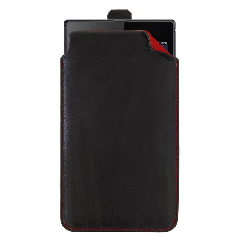 handy-point XXXXL Echtleder handgemacht Ledertasche Tasche Hülle Schutzhülle Schutztasche aus echtem Leder für Sony Xperia Z Ultra Schwarz - innen Rot