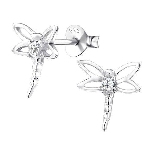 Laimons Damen-Ohrstecker Damenschmuck Libelle glanz Zirkonia Sterling Silber 925 (Teich Sommer)