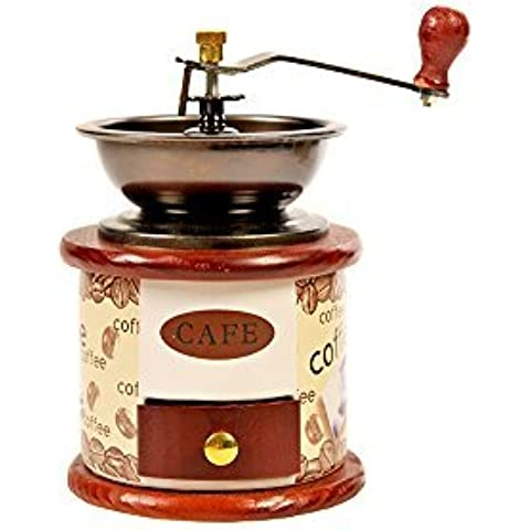 Coffee Grinder Manual Hand Maker Beans (Cream / Mahogany) by BSL