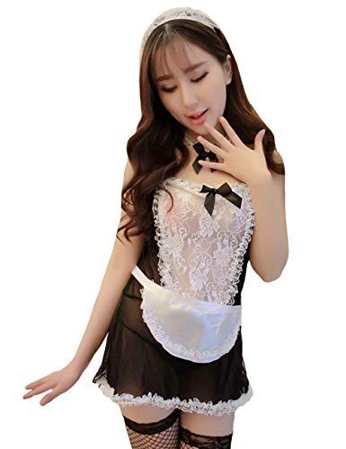 Olens Damen Spitzenkleid Französisch Maid Kleid Rollenspiel-Outfit Cosplay Kostüm Clubwear mit Netzstrumpf - Schwarz - Einheitsgröße