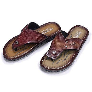 Slippers & amp da uomo;Pelle Estate Comfort Light Soles microfibra esterna piana casuale tallone D sandali US8.5-9 / EU41 / UK7.5-8 / CN42