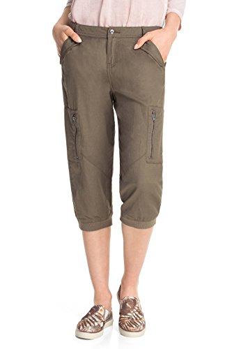 edc Women - Leinen Capri, Pantaloni da Donna, Verde (Epidote Green 341), 32 (Taglia Produttore: 32)