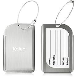 Bagages Étiquettes, Kollea Luggage Tag en Aluminium, 2 Pack Etiquette Valise avec Fenêtre Transparente et Boucle en Acier Inoxydable, Coffret Cadeau, Argent