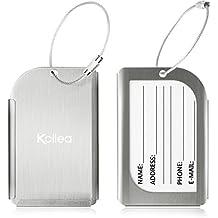 Etiqueta para equipaje, 2 unidades de aluminio Kollea viajar identificatoria tarjetero maleta etiqueta la etiqueta para equipaje, bolso, maleta