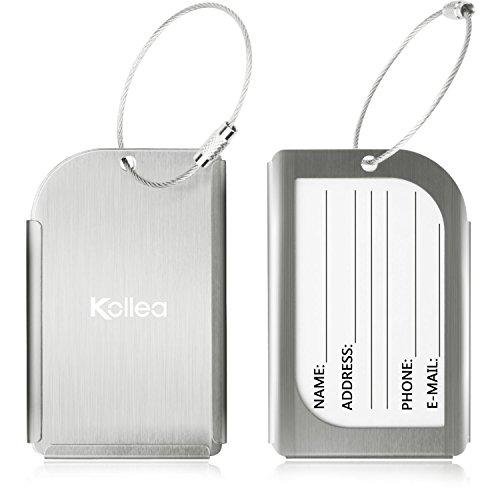Etiqueta para equipaje, 2 unidades de aluminio Kollea viajar identific