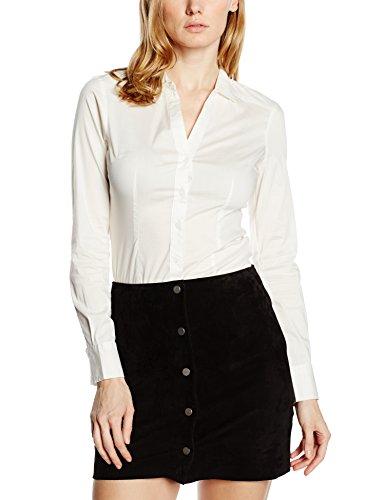 VERO MODA Damen Regular Fit Bluse VMLADY L/S G - String Shirt NOOS, Gr. 36 (Herstellergröße: S), Weiß Snow White