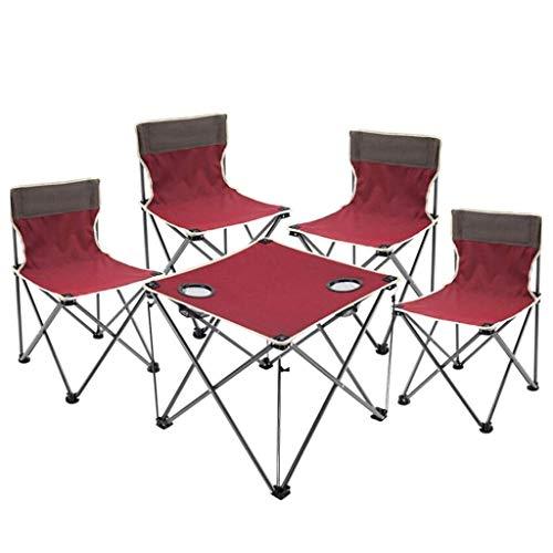 Esstisch Partytisch -GR Tragbarer Klapptisch Tisch und Stuhl im Freien Fünf-teiliger Klapptisch und Stühle Strandkorb Set Geeignet für Indoor Camping Dinner Fishing, Multi-Color optional Gartentisch B - Dinner-stühle Red
