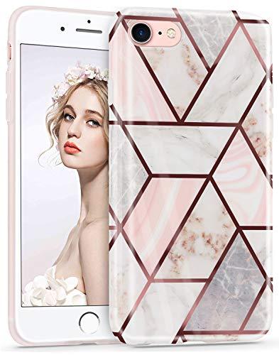 Imikoko Hülle für iPhone 7/iPhone 8 Glitter Bling Rosegold Handyhülle TPU Silikon Weiche Schlank Schutzhülle Handytasche Flexibel Case Handy Hülle