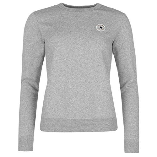 Converse Alle Star Basic Rundhals Sweatshirt Damen Skate Bekleidung Pullover Pullover - grau, UK 8 (Xs) -