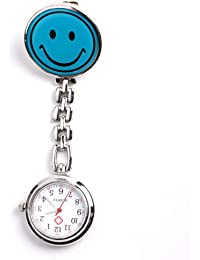 Yesurprise - Montre de poche Montre à gousset Portable Bleu Sourire Infirmière motre avec clips Quartz Argent
