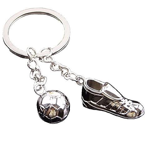 EQLEF® 2 pièces en métal Chaussures de soccer jeu clé anneau de porte-clés de sport de football Coupe du monde olympique Memorial