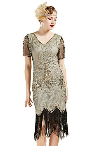 ArtiDeco Damen 1920 flapper gesäumten paillettenkleid roaring 20s abendkleid gatsby-kostüm-kleid mit v-ausschnitt vintage-perlen abendkleid (Downton Abbey Kostüm Frauen)