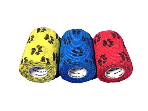 LisaCare Kohäsive Bandage Fixierbinde Selbsthaftend Elastisch - 3er Set - 7,5cm Breit x 4,5m dehnbar mit Motiv Pfote in Gelb Rot Blau