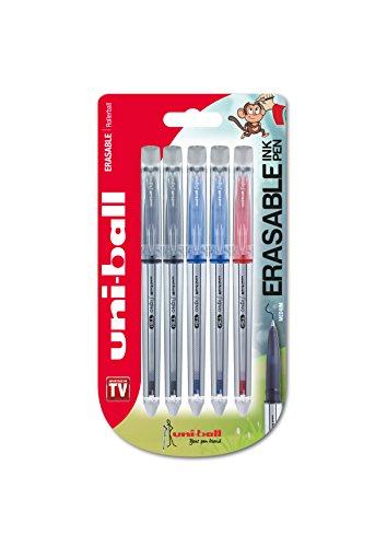 Bolígrafos borrables UF-220 Signo TSI, tinta borrable negra/azul/roja, punta mediana, paquete de 5 unidades