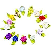 100pcs Chytaii Satén Cinta Flor Rosa Lazo Costura Multicolor con Hoja Verde DIY Artesanía Aplicación de Ropa Color al Azar