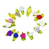 Chytaii Satén Cinta Flor Rosa Lazo Costura Multicolor con Hoja Verde DIY Artesanía Aplicación de Ropa 100 Piezas color al azar