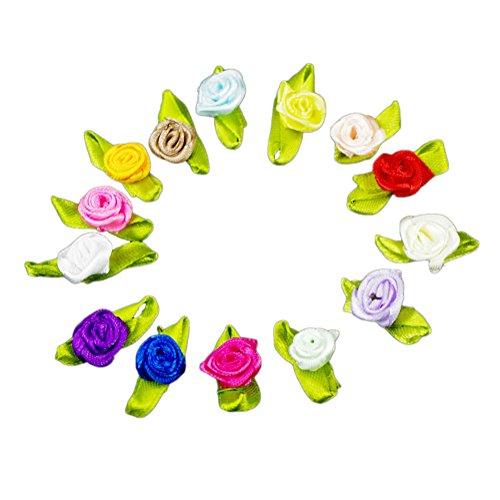 100X Toruiwa Satinband Kleine Rosen Mini Bowknot für Hochzeit Deko Karten DIY Basteln Haar Bogen Hut Handwerk Zufällige Farbe