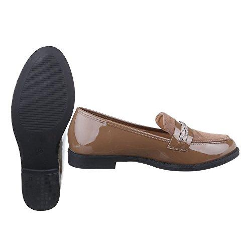 Schuhe Halbschuhe Low Ital Damen design Grau Braun Blockabsatz Slipper top 0qTTtIw