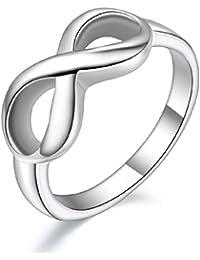 JewelryWe Joyería Infinito Anillo De Mujer, 8 El Amor Infinito Infinity Love, Anillo Acero Inoxidable, Elegante 8mm Color Plata, Talla 9.5-25