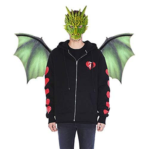 WQW Halloween Drache Cosplay Kostüm | Drachenflügel + Maske Set (Grün) (Grüne Drachen Kostüm)