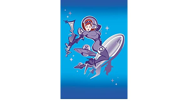 2 x Bawidamann Purple Space Baddies Girl Rocket Postcard 4/'/' x 6/'/' Inches
