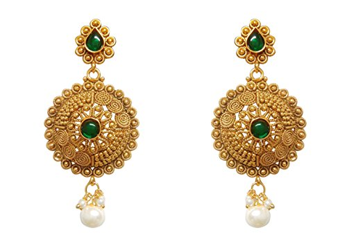 Chandrika Pearls Ram Leela Inspired Kundan Polki cubic zirconia navratri garba dandia Earrings  available at amazon for Rs.295