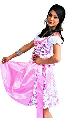 Dirndl Trachtenkleid Kleid 3Tlg. mit Dirndlbluse Schürze geblümt Gr: 34-50 in Farbe rot schwarz gold türkis blau pink violett grün grau Wiesn BAVARIAN CLOTHES Midi Oktoberfest (Rote Mit Schürze Gold)