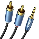 MillSO Klinke auf Cinch Kabel 5m 3,5mm Klinke auf 2X RCA Chinch Stecker Stereo Audio Aux Klinkenkabel (24K Vergoldet)