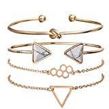 Shining Diva Fashion Set of 4 Multilayer Charm Bangle Gold Plated Bracelet for Women and Girls (Golden) (10695b)