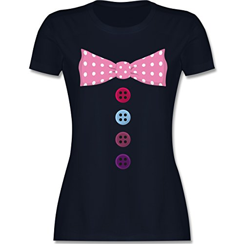 Karneval & Fasching - Clown Kostüm rosa Fliege - M - Navy Blau - L191 - Damen T-Shirt Rundhals