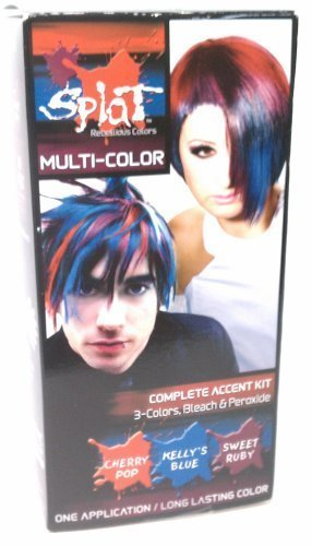 Splat 3 Color Accent Kit Cherry Pop Kelly Blue Sweet Ruby Extreme Shocking Expressive Long Lasting Semi Permanent Hair Color (1 Box) by Developlus, Inc.