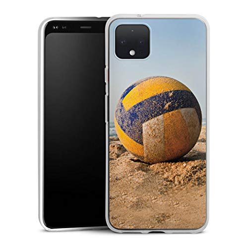DeinDesign Silikon Hülle kompatibel mit Google Pixel 4 XL Case Schutzhülle Volleyball Sand Beach
