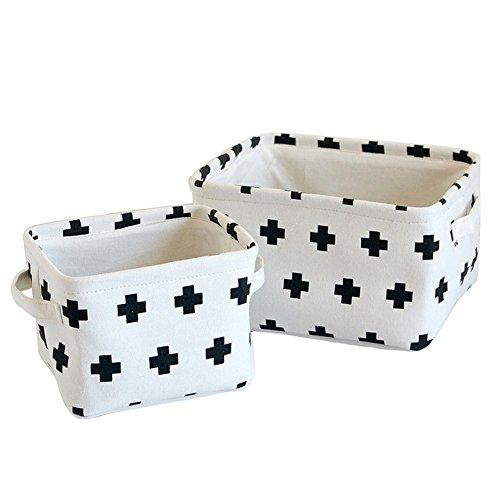 Znvmi Sets von 2 Baumwolle Aufbewahrungsbox Kinder Spielzeugkiste Aufbewahrungskorb für Büro, Schlafzimmer, Kleidung, Spielzeug, Wäsche - Kreuz -