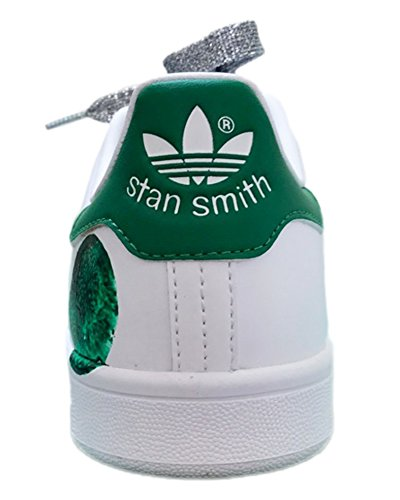 StanSmith bianche con pois verdi e lacci glitter argento Bianco