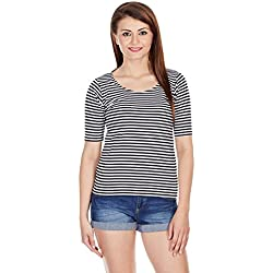 Miss Chase Women's Basic Top (MCAW14TP01-71-98_Black and White_Medium)