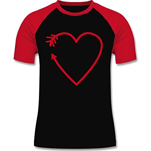 Romantisch - Herz Pfeil - zweifarbiges Baseballshirt für Männer Schwarz/Rot