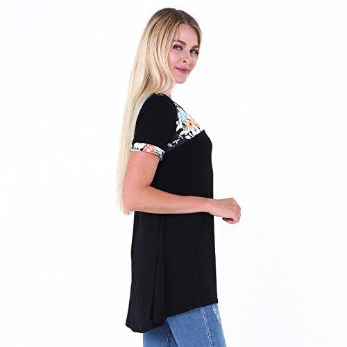a Maniche Corte Floreale a Fiori Fondo Irregolare Fondo Asimmetrico Svasato Babydoll a trapezioe Blouse Blusa Camicetta Shirt Camicia T-Shirt Maglietta Tee Superiore Top Nero