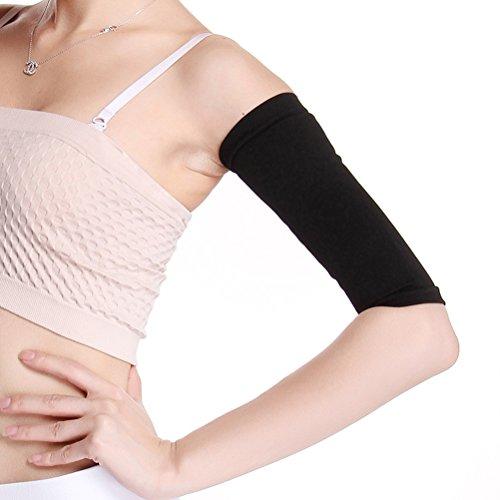 ultnice le maniche del brazo Que Adelgazan la compressione mejoran Los Bracci maniche della talladora più Confezione per la aptitud sportiva (Nero)