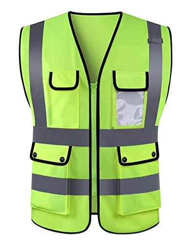 Panegy Sicherheitweste Hohe Sichtbarkeit Warnwesten Pannenhilfe Multi-Tasche Unfallweste mit Reflektorstreifen Reißverschluss -