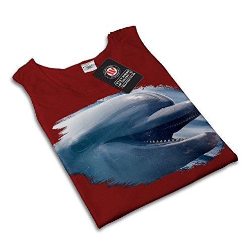 Delphin Lächeln Niedlich Tier Wasser Kumpel Damen S-2XL Muskelshirt | Wellcoda Rot