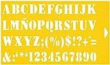30cm x 17,5cm Flexibel Kunststoff Universal Schablone - Textil Kuchen Wand Airbrush Möbel Dekor Dekorative Muster Torte Design Technisches Zeichnen Zeichenschablone Wandschablone Kuchenschablone - Brief Schrift 25mm Hohe Buchstaben Beschriftung
