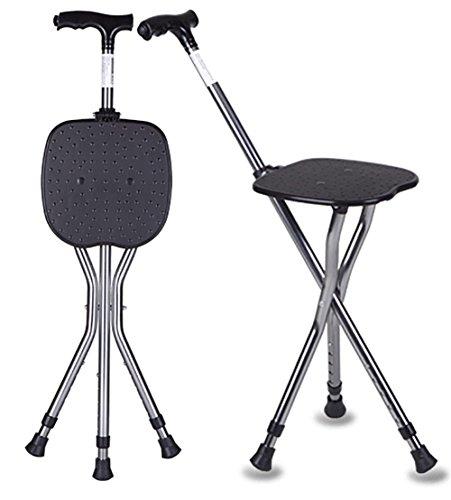G&M Einstellbare Folding Gehstock Stuhl Hocker Massage Walking Stick LED-Licht für Elder Sitz Tragbare Angeln Erholung Hocker mit einstellbarer Höhe Cane Sitz 85-95CM (Angeln Cane)