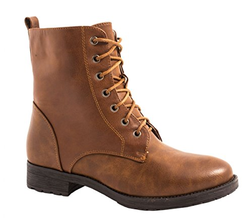 Elara Damen Stiefeletten | Bequeme Biker Boots | Lederoptik Schnürstiefeletten W122-Camel-38