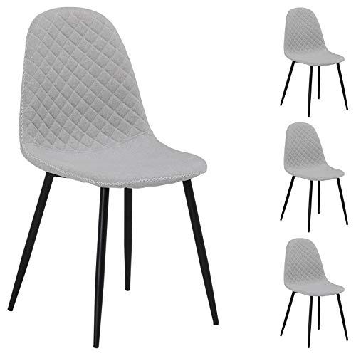 IDIMEX Esszimmerstuhl RENA Stoff, Küchenstuhl Essstühle Polsterstuhl, im 4er Set, mit Stoffbezug in hellgrau, modernes Design -
