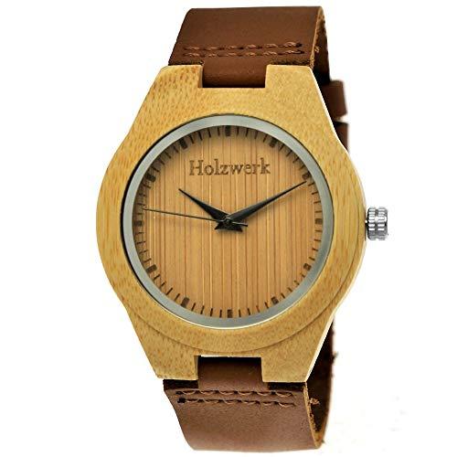 Handgefertigte Holzwerk Germany ® Designer Öko Damen-Uhr Mädchen-Uhr Öko Natur Holz-Uhr Leder Armband-Uhr Analog Klassisch Quarz-Uhr Braun